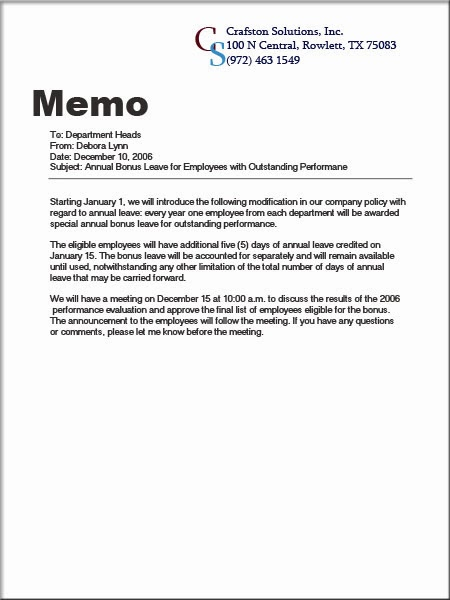 business memo template word